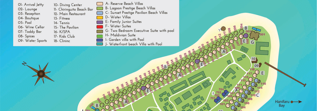 Kihaad Maldives Island Resort Map