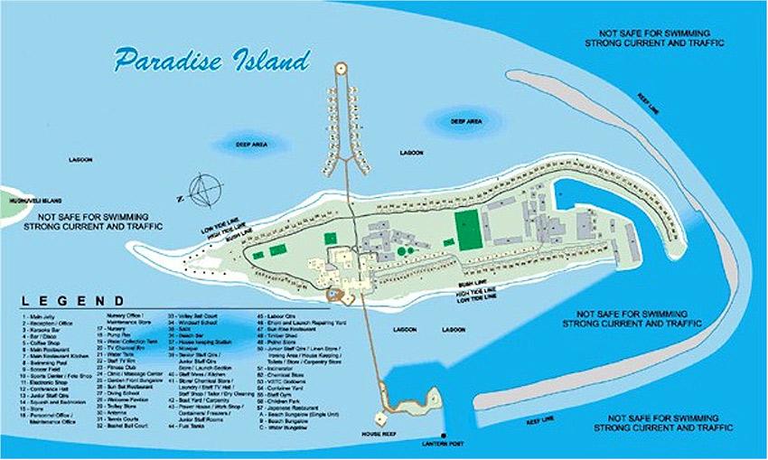 Maldives Hotel Map Paradise Island ...